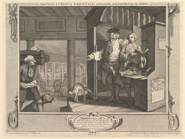 The Industrious 'Prentice a Favorite, and Entrusted by his Master - Industry and Idleness - plate 4 (William Hogarth)