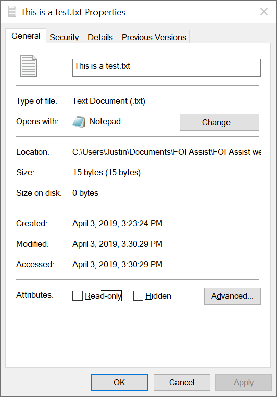 2 plain text document file size