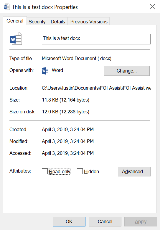 4 word document file size