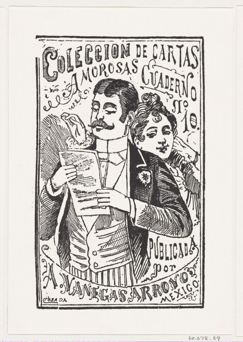 A woman looking over a man's shoulder at the letter in his hand (José Guadalupe Posada).jpg